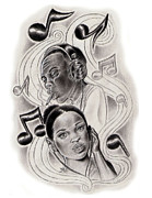 Hip Drawings - Music flow by Garland Watson