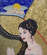 Mosaic Glass Portrait Mixed Media Prints - Music for an Angel Print by Liza Wheeler