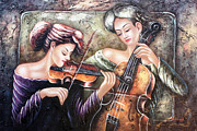 Playing Music Painting Originals - Music In the Family by American Artist