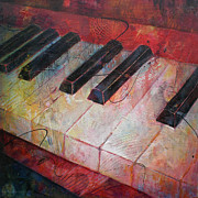 Musical Notes Painting Originals - Music is the Key - Painting of a Keyboard by Susanne Clark