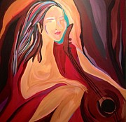 With Glass Art Prints - Music Lady Print by Dorothy Washington