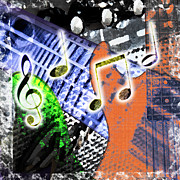 Bass Digital Art Prints - Music Print by Lee Wellman