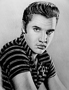 Faces Drawings - Music Legends Elvis by Andrew Read