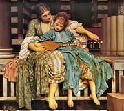 Frederick Digital Art Prints - Music Lesson 1877 Print by Lord Frederick Leighton