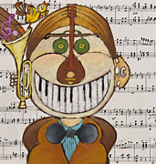 Lute Drawings Metal Prints - Music Man Metal Print by Semiramis Paterno