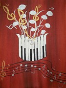 Musical Notes Painting Originals - Music by Mirabela-Poliana Grigore