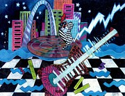 Jazz-stars Prints - Music On The River STL Style Print by Genevieve Esson