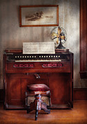 Antique Fan Prints - Music - Organist - My Grandmothers organ Print by Mike Savad