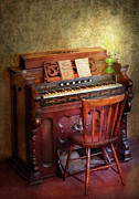 Quaint Metal Prints - Music - Organist - Playing the songs of the gospel  Metal Print by Mike Savad