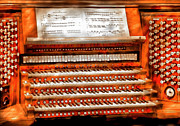Wooden Metal Prints - Music - Organist - The Pipe Organ Metal Print by Mike Savad