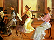 Playing Painting Originals - Music Room after Lilla Cabot Perry by Rachel Lawson
