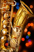 Bokeh Photo Posters - Music - Sax - Very saxxy Poster by Mike Savad