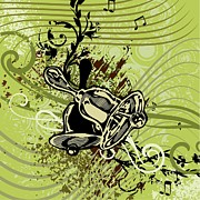 Backgrounds Drawings Prints - Musical Backgrounds Print by ClipartDesign