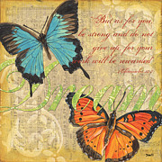 Vintage Blue Prints - Musical Butterflies 1 Print by Debbie DeWitt