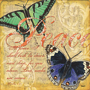 Vintage Mixed Media Metal Prints - Musical Butterflies 2 Metal Print by Debbie DeWitt