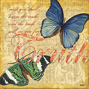 Blue Mixed Media Framed Prints - Musical Butterflies 3 Framed Print by Debbie DeWitt