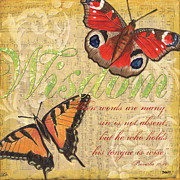 Red Mixed Media Framed Prints - Musical Butterflies 4 Framed Print by Debbie DeWitt
