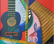 Guitar Painting Originals - Musical Composition by Katiuska Drouet