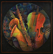 Bass Painting Prints - Musical Mandala - Features Cello and Saxs Print by Susanne Clark