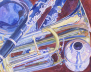 Trumpet Painting Posters - Musical Reflections Poster by Jenny Armitage
