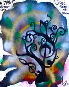 Stencil Art Paintings - Musical tree Blue by Tony B Conscious