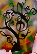 Free Speech Painting Metal Prints - Musical Tree Golden Metal Print by Tony B Conscious