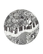 Musical Notes Drawings Prints - Musically Enchanted Print by Monique Skellenger