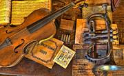 Sheet Framed Prints - Musician -  Stradivarius and Trumpet at Rest III Framed Print by Lee Dos Santos
