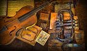Sheet Framed Prints - Musician -  Stradivarius and Trumpet at Rest IV Framed Print by Lee Dos Santos