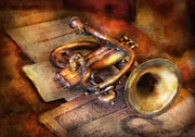 Notes Metal Prints - Musician - Horn - Toot my horn Metal Print by Mike Savad