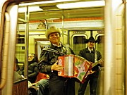 Street Musicians Prints - Musicians on the A Train Print by Sarah Loft