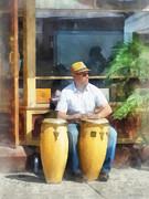 Musicians - Playing Bongo Drums Print by Susan Savad