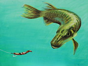 Animals Pastels Originals - Muskie and the Lure by Jeanne Fischer