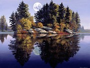 Water Reflections Paintings - Muskoka  Moon by Michael Swanson