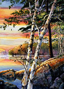 Sunset Scenes. Framed Prints - Muskoka Summer Sunset Framed Print by Hanne Lore Koehler