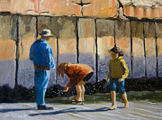 Flip-flops Paintings - Mussel Gatherers by Alice Leggett