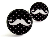 Men Jewelry - Mustache Cufflinks white black and grey dots by Rony Bank
