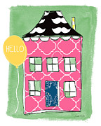 Whimsical Mixed Media Prints - Mustache House Print by Linda Woods