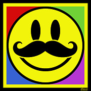 Happy Mixed Media Originals - Mustache Smile by Tony Rubino