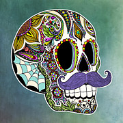 Spanish Digital Art Prints - Mustache Sugar Skull Print by Tammy Wetzel
