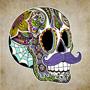 Day Of The Dead  Digital Art - Mustache Sugar Skull Vintage Style by Tammy Wetzel