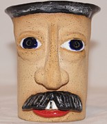 Hand-painted Ceramics Originals - Mustachio  Mug by Susan Perry