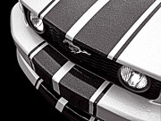 Racing Mustangs Posters - Mustang Abstract in the Rain Poster by Gill Billington