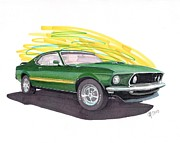 Ford Mustang Mixed Media Framed Prints - Mustang Framed Print by Chris Fraser