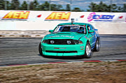 Racing Mustangs Posters - Mustang drift Poster by Brian  Metski