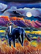 Batik Painting Posters - Mustang in the Moonlight Poster by Harriet Peck Taylor
