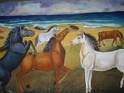 Matting Painting Originals - Mustang Mates by Prasenjit Dhar