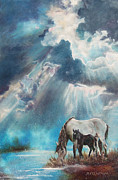 Chatham Painting Originals - Mustang Morning by Karen Kennedy Chatham