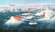 Mustang Aviation Art Paintings - Mustangs at Dawn by Wade Meyers
