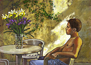 Boy Painting Originals - Mustaphas Garden by Douglas Simonson